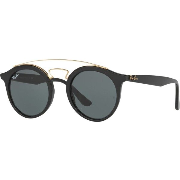 Ray-Ban RB4256 Round Sunglasses (£100) ❤ liked on Polyvore featuring accessories, eyewear, sunglasses, black, vintage sunglasses, vintage round glasses, square sunglasses, square lens sunglasses and rectangular sunglasses