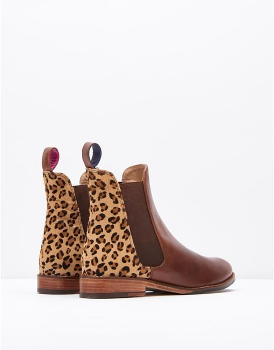 Westbourne Leopard Hair on Hide Chelsea Boot , Size Adult Size 6 | Joules UK