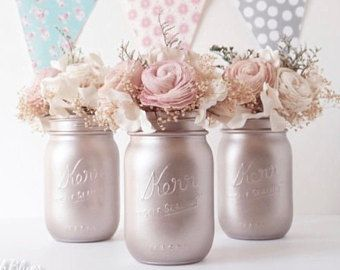 Blush Wedding / Silver Champagne / Blush Rose Gold Wedding Centerpiece Painted Mason Jars Table Reception Decor / set of 3 pints