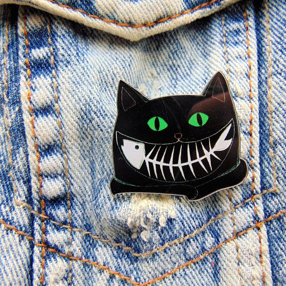Acrylic Brooch The Cheshire Cat in Black Darkness  A Fish Bone Smile Green Eyes Alice in Wonderland Theme Quirky Collectable Badge for Bags