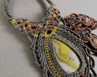 Macrame Necklace Fan Necklace Boho Necklace Brown Necklace