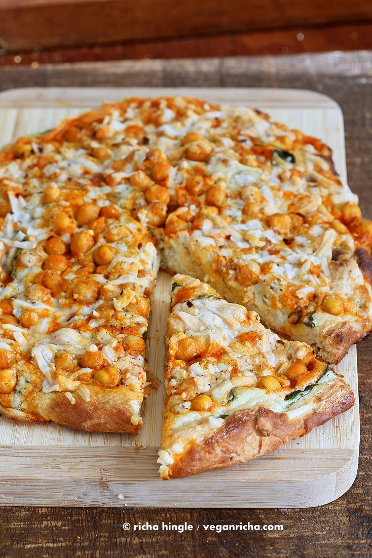 Buffalo Chickpea Pizza with White Garlic Sauce and Celery Ranch Dressing. Vegan…