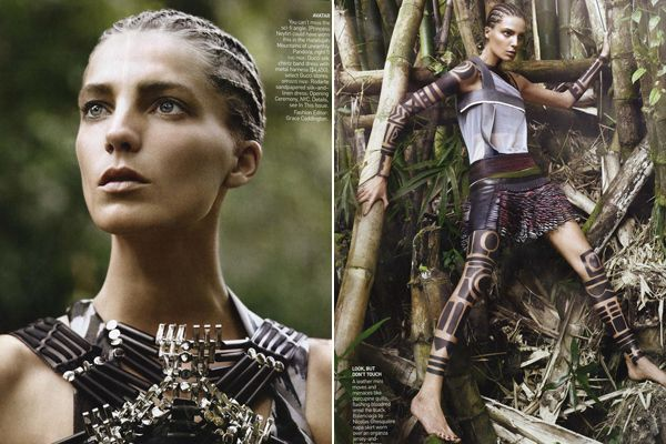 tribal fashion editorials   Welcome to the Jungle! Daria Werbowy Does Tribal Style in March Vogue