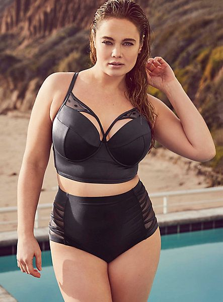 Plus Size Mesh Inset Strappy Bikini Swimsuit - Plus Size Swimsuit