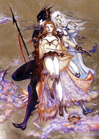 cecil, kain, rosa from final fantasy iv by Yoshitaka Amano