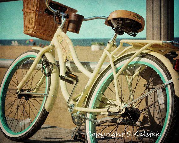 Vintage Bicycle Photograph Yellow Aqua Retro Bike Wall Art Beach Bicycle Art 8x10