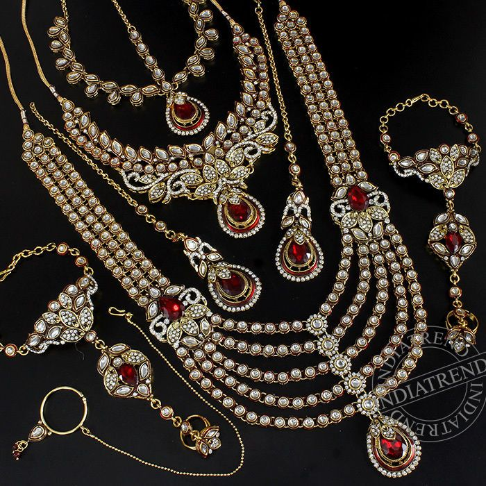 ZAINAB MAROON BRIDAL NECKLACE @ Indiatrend For $123.99USD With Free Shiping Worlwide
