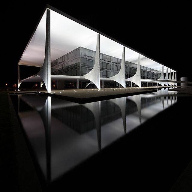 Palácio do Planalto is the official workplace of the President of Brazil. Constructed in 1958. Designed by Oscar Niemeyer.