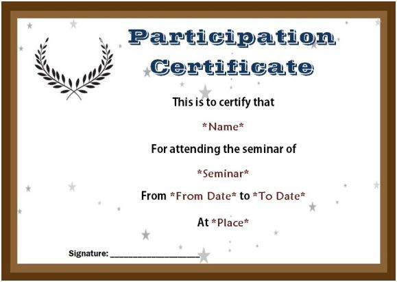 Certificate of participation seminar templates sample for Certificate of attendance seminar template
