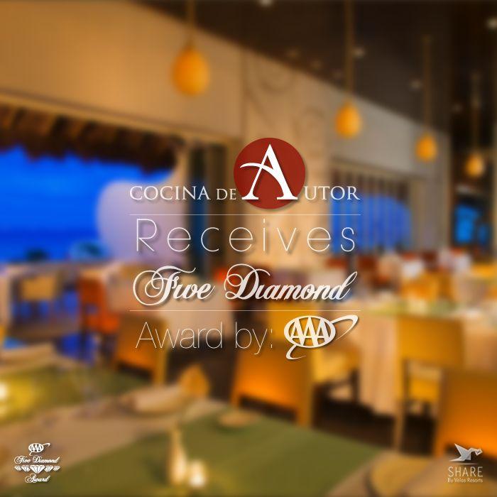 Cocina de Autor our signature restaurant receives Five Diamond Award by: AAA