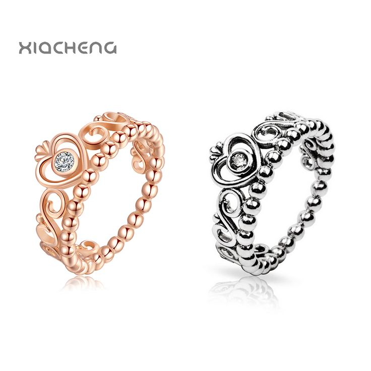 New 100% 925 Sterling Silver Gold & Silver Color Ring With Crystal Crown Ring For Women Party Rings Fit with Pandora Jewelry