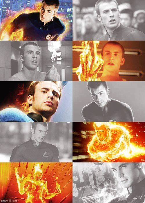 The Human Torch - Fantastic Four, he has always been my favorite. btw, this is the same guy who plays captain america. ;-) @Laura P @Elizabeth Pautsch