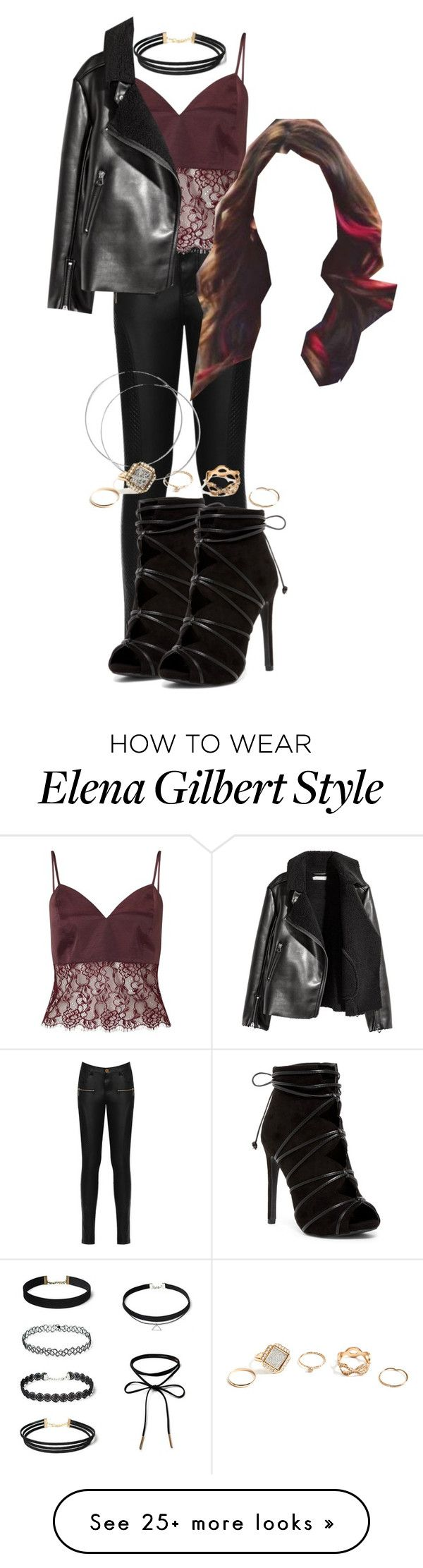 """""""Elena/Katherine Inspired Outfit"""" by grandmasfood on Polyvore featuring WearAll, Miss Selfridge, H&M and GUESS"""