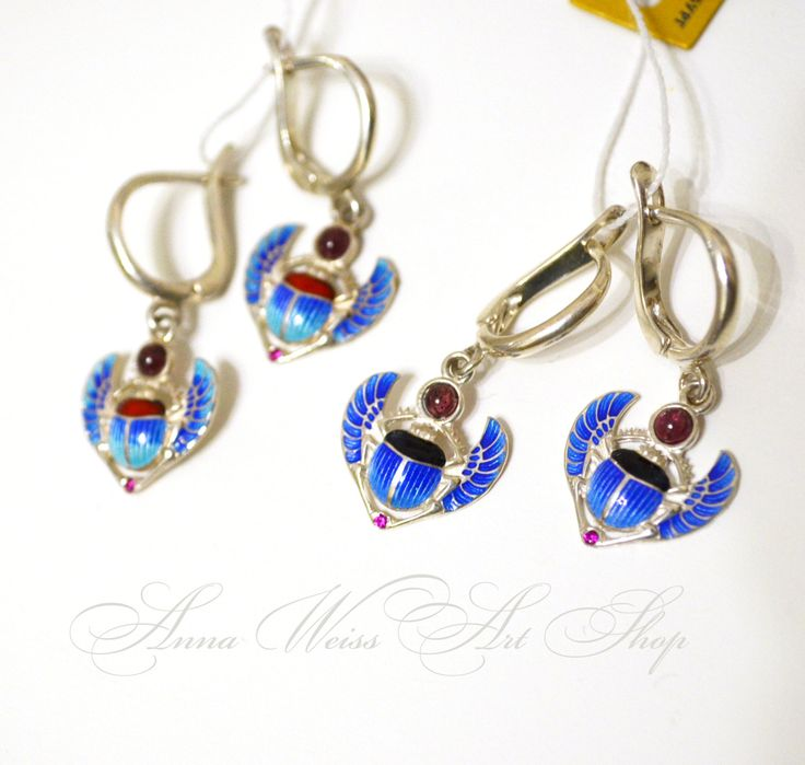 Dangle Earrings Winged scarab egyptian theme hot enamel sterling silver handmade russian jewelry Valentines day gift idea by AnnaWeissArt on Etsy