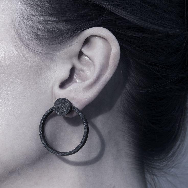Timeless and elegant ORB Knob Earrings in black.