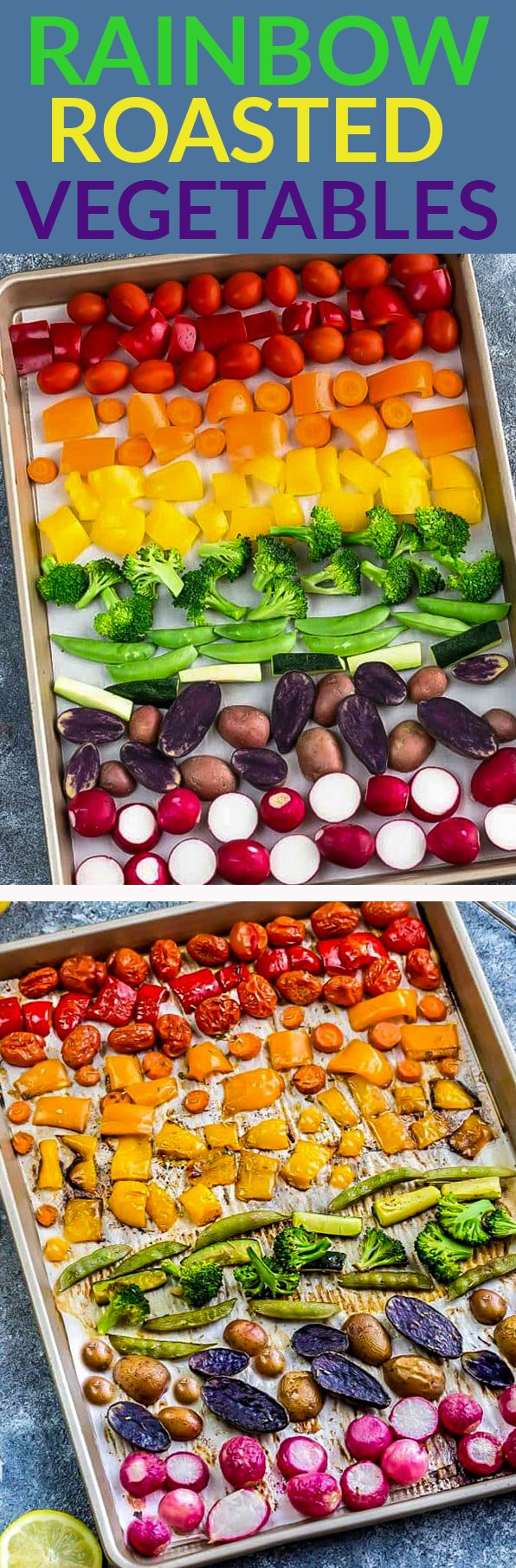 Rainbow Roasted Vegetables makes the perfect easy side dish (paleo Whole 30) arranged in a fun presentation for kids and adults. Best of all, this recipe is simple to customize using any vegetables you like. Great for Sunday meal prep and leftovers are perfect for work or school lunchboxes or lunch bowls. Also great for parties for St. Patrick's Day or potluck and summer BBQ's. #rainbow #vegetables #whole30 #paleo #healthy #sidedish