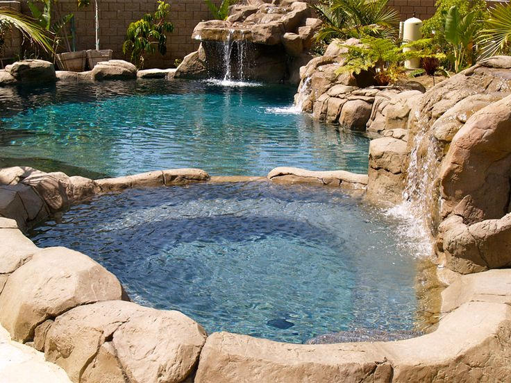53 best images about backyard on pinterest stone bowl for Stone swimming pool