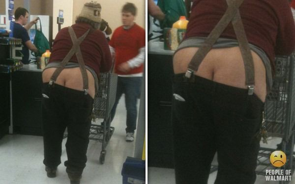 Suspenders.  Something to add to my list of things I'm thankful for. Meanwhile at WalMart... The People of Walmart, WEARING tasteless, ill fitting clothes, or maybe not even enough clothes to cover their privates, are photographed by other customers with cell phones.
