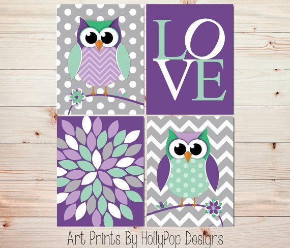 Baby Girl Nursery Decor-Nursery Wall Art-Cute Whimisical Woodland Owl Nursery-Childrens Art Prints-Purple Mint Green Modern Girls Room-#0666