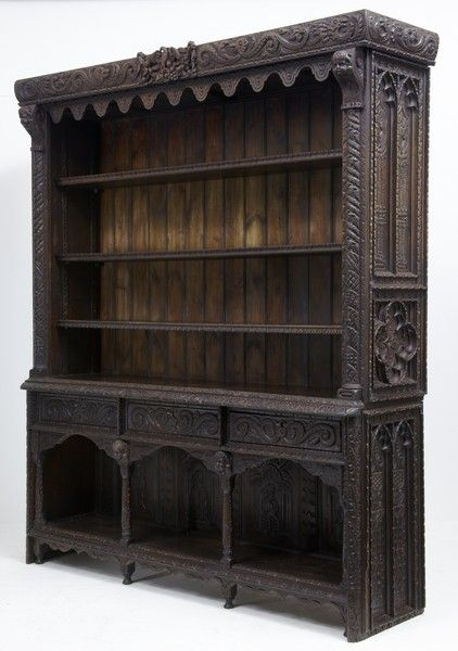 19TH CENTURY VICTORIAN PROFUSELY CARVED OPEN BOOKCASE DRESSER (ENGLAND)
