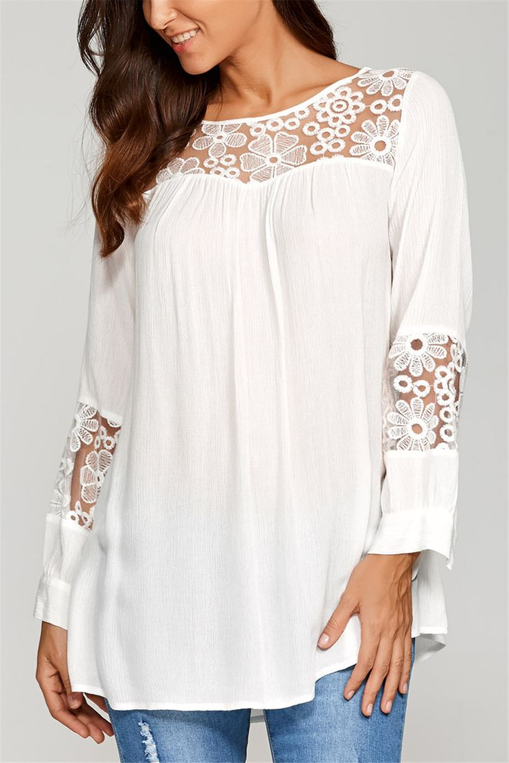 $14.78 Lace Insert Smock Blouse - White
