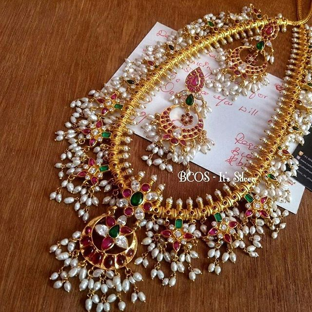 One more pure silver guttapusalu aaram set... loving the concept of Pearls in jewelry.. Pearls makes the jewelry more and more beautiful.. #gottapusalu #guttapusalu #guttapusaluaaram #pearllove #bcositssilver #puresilvergoldplated #puresilver