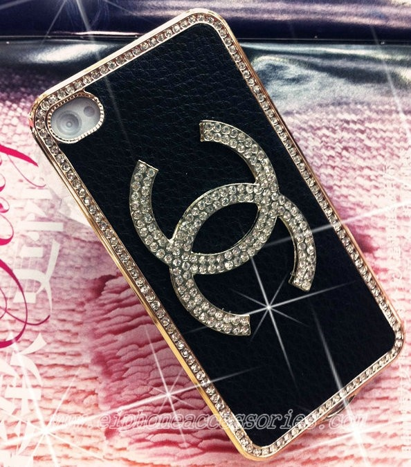 Luxury Bling Chanel iPhone 4 Case iPhone 4S Case Black