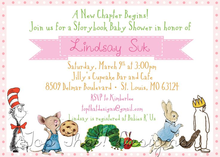 25 best ideas about Storybook baby shower – Baby Birth Party Invitation