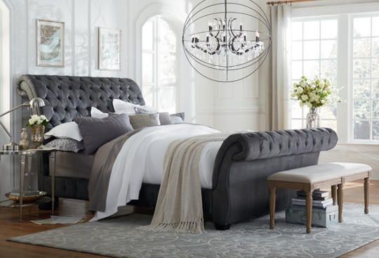 Tailor Button Tufted And Pleated Upholstery. Heavy Padding And Bombay Roll  Design. Stocked In