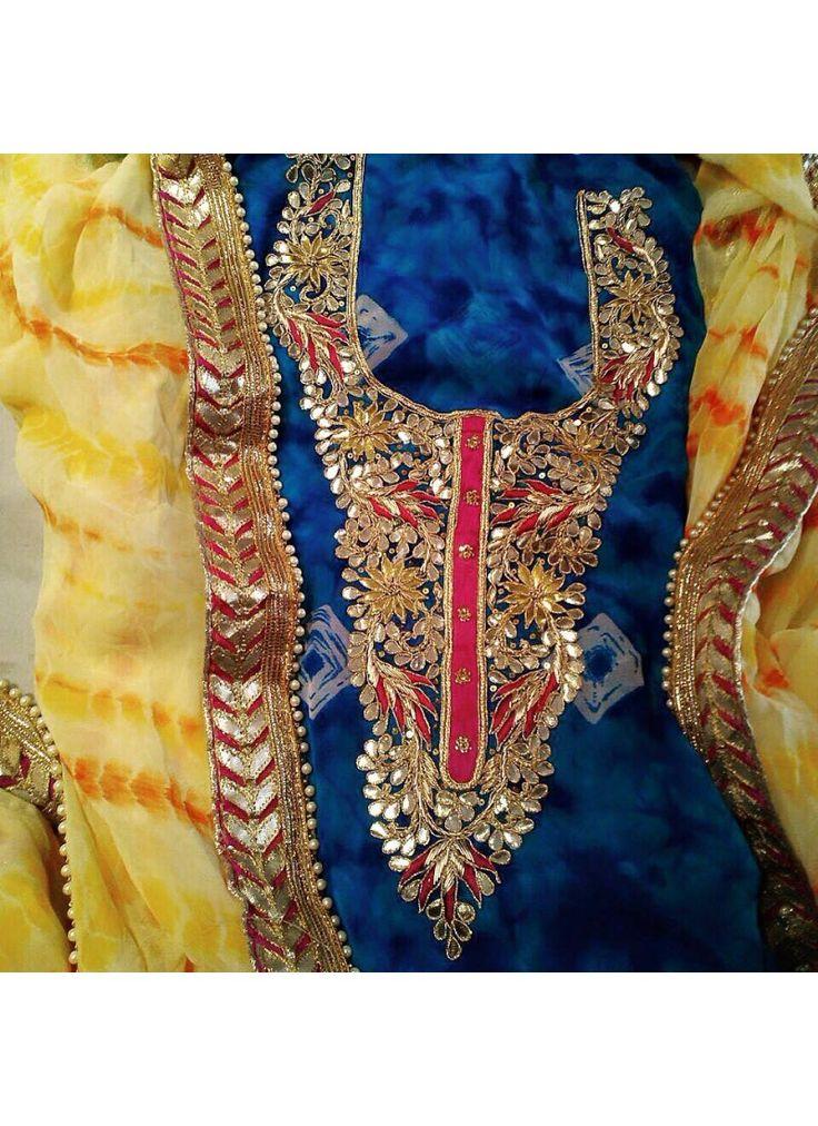 Chiffon And Crepe Cotton Gotta Patti Suit