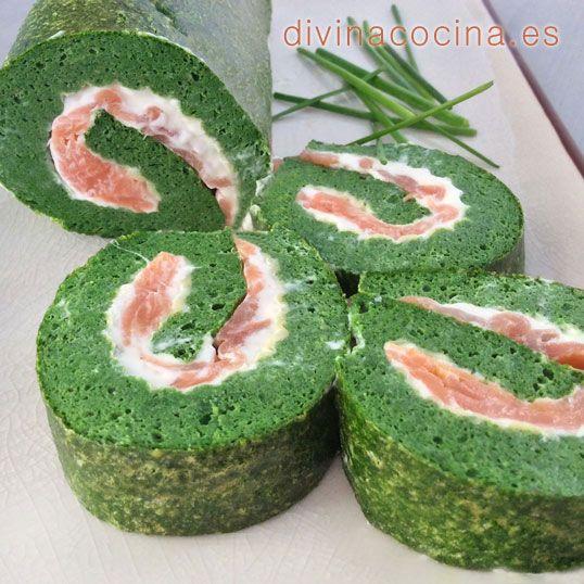 Brazo de gitano de espinacas y salmón » Divina CocinaRecetas fáciles, cocina andaluza y del mundo. » Divina Cocina