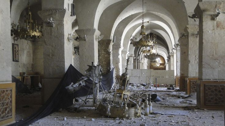 Inside a damaged mosque in Aleppo, on March 10, 2013.
