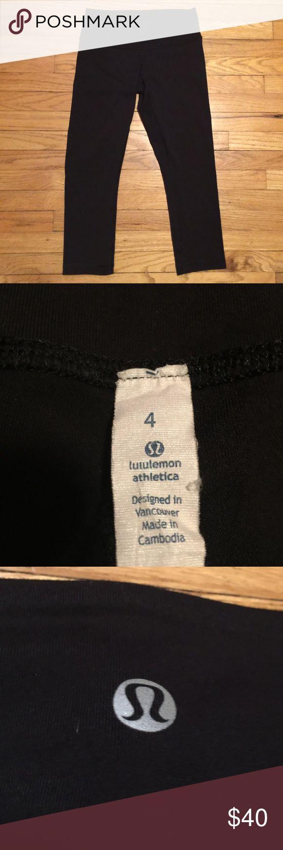 Lululemon black workout capri pants - sz 4 Lululemon black workout capri pants - sz 4. Waist - 12.5 inches. Rise - 8 inches. Inseam - 20.5 inches. Excellent condition. lululemon athletica Pants Capris