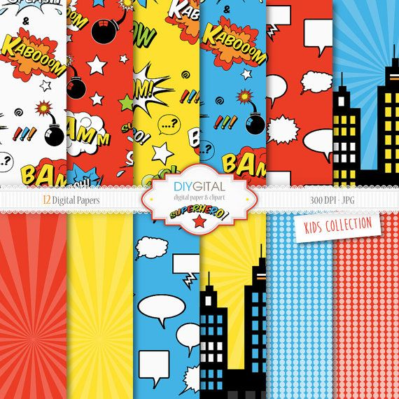 Superhero Digital Paper Set 12 Super Hero Digital от DIYgital