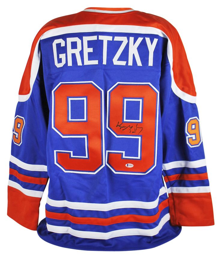 Wayne Gretzky Edmonton Oilers Autographed Blue Jersey $674.99  This is a Authentic Signed Blue Jersey that has been Personally Signed & Autographed by Wayne Gretzky of the Edmonton Oilers. This item is 100% Authentic to include a Certificate of Authenticity (COA) / hologram by Beckett Authentication Services #A05024. VIP Collectibles offers a 100% Lifetime Guarantee on all Autographed & Signed Wayne Gretzky memorabilia. Industry-Leading Autograph Experts Unite with an Iconic Hobby Brand…