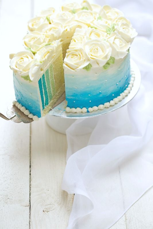 Sky Blue Cake Images : masam manis: SKY BLUE OMBRE CAKE DESIGN FOOD Pinterest