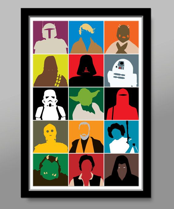 Star Wars Inspired Characters  - Minimalist Movie Poster Pop Art - Print 238 - 13 X 19 Home Decor
