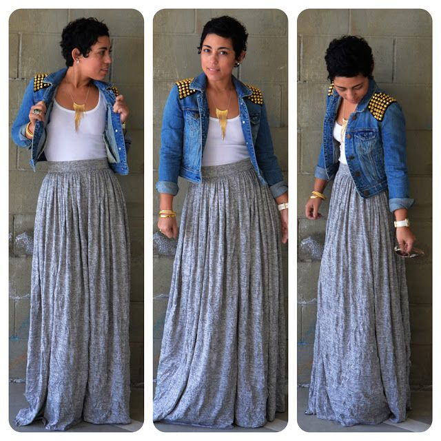 OOTD: DIY Maxi Skirt   Denim DIY Studded Jacket