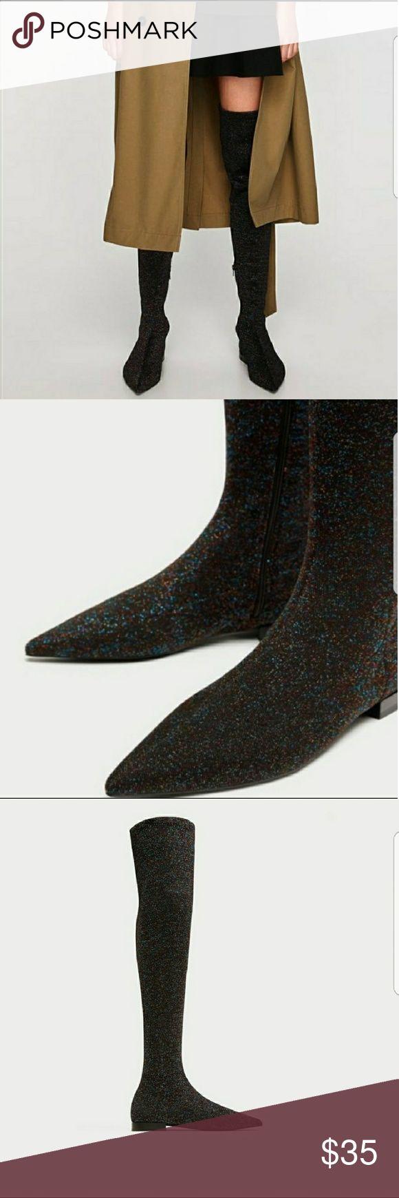 NWT Zara Glittery Boots NWT Zara Black multi coloured Glittery over the knee boots.  Stretch a little Zara Shoes Over the Knee Boots
