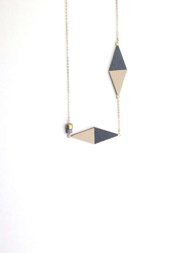Grey and Beige Necklace - Leather Necklace - Minimalist Necklace - Dainty Necklace - Leather & Brass Necklace - Geometric Necklace by DeMonCoeurHeartmade on Etsy https://www.etsy.com/listing/228819824/grey-and-beige-necklace-leather-necklace