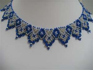 Image detail for -ukrainian inspired choker with royal blue white and silver seed beads ...