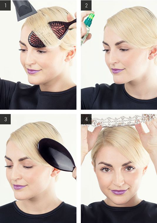 Short locks all around? Blow dry straight, sweep to the side, then lock strands in place with a headband.