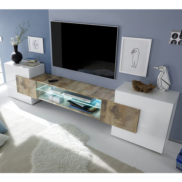 meuble tv moderne blanc laqu brillant et couleur bois argos 2 - Meuble Bois Et Blanc Laque
