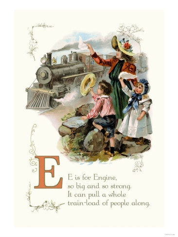 E is for Engine, so big and so strong. It can pull a whole train-load of people along.Vintage Abc, Numbers Vintage, Vintage Ephemera, Abc 123, Vintage Children, Prints, Kids Alphabet, Vintage Alphabet, Children Image