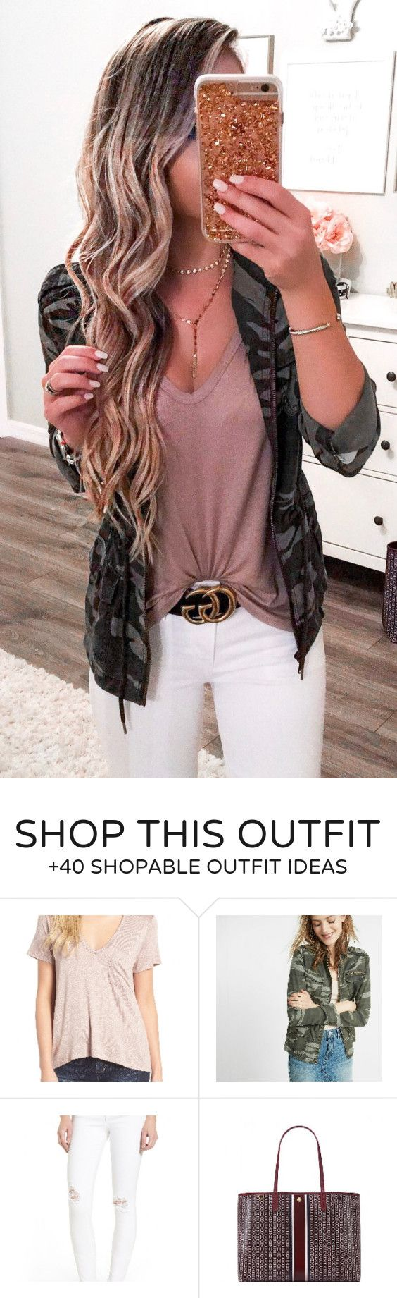 #summer #outfits Army Jacket + Tan Top + White Skinny Jeans