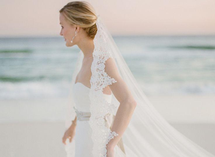 Rosemary Beach Wedding, lace wedding veil.