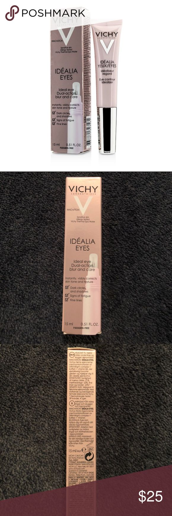 Vichy Idealia Eyes Dual action Blur & Care Brand new - Vichy Idealia Eyes Dual action Blur & Care. .51 oz. Leave tired eyes behind. Acts as an anti-wrinkle eye treatment and instant illuminator. Reduces the appearance of dark circles. Smooths fine lines. Illuminates shadows. Creamy, blendable texture absorbs quickly for an instantly moisturized, fresh-looking eye area. Innovative ultra-soft silicone applicator allows for gentle, precise application. Fragrance-free. Allergy-tested. Suitable…