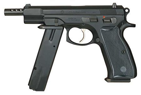CZ 75 Automatic, a selective fire version of the CZ 75B; note the spare magazine, attached as a front grip, and a lengthened barrel with muzzle compensator, which indicates the early model