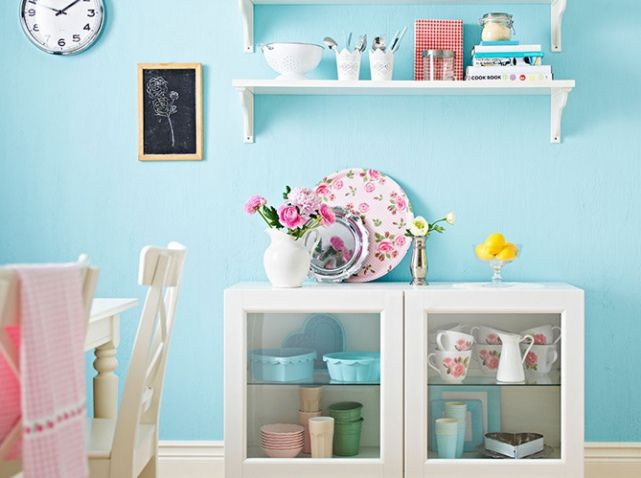 Cuisine mur bleu ciel Pour le mur du salon en face de la fenêtre