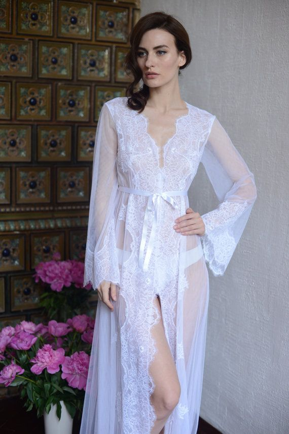 Lace-trimmed Tulle Bridal Robe F14Lingerie Nightdress by Alingerie